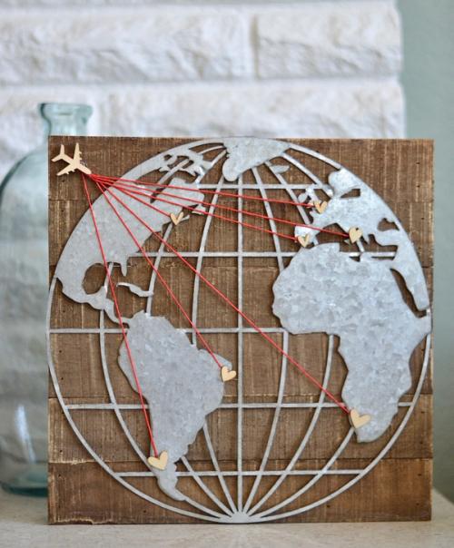 Travel the World Bucket List Galvanized Sign by Jillibean Soup. #jillibeansoup #galvanized #woodensign #mixthemedia