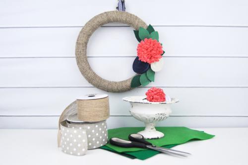 Ribbon wrapped wreath with felt flowers video tutorial by Jen Gallacher for Jillibean Soup. #wreath #feltflowers #DIYwreath #youtubevideo