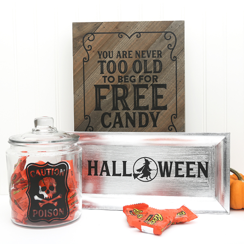 Mix the media home decor projects using Jillibean Soup's 8x10 diagonal rustic plank and halloween cut files.  Halloween diy project.  Jillibean Soup Mix the Media.  #jillibeansoup #homedecor #mixthemedia #halloween #diagonalrusticplank #cutfiles
