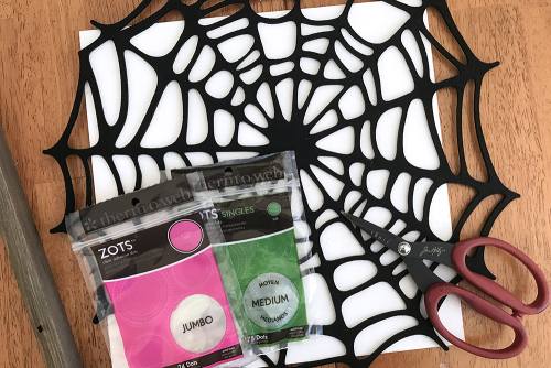 Home decor mix the media project using Jillibean Soup's 12x12 rustic white frame and All About Dots paper pad.  Mix the media Halloween project.  Jillibean Soup Mix the Media.  #jillibeansoup #mixthemedia #homedecor #halloween #rusticwhiteframe #allaboutdotspaperpad #project