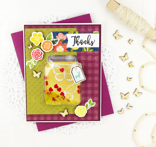 Shaker cards using Jillibean Soup's shape shaker collections, shaker fillers, and Garden Harvest patterned paper.  Shake it up with shaker cards and stamps.  Jillibean soup cardmaking.  #jillibeansoup #shapeshakers #shaker #cardmaking #gardenharvest #shakerfillers