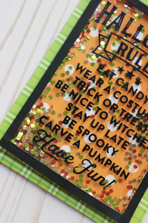 Halloween card using Jillibean Soup's Bohemian Brew patterned paper, All About Plaid paper pad, Chunky Glitter shaker fillers and a cut file.  Seasonal card set.  Jillibean Soup cardmaking.  #jillibeansoup #cardmaking #cards #halloween #cutfile