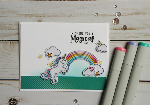 Stamped card using Jillibean Soup's unicorn stamp and die set and All About Dots paper pad.  How to stamp on a card.  Jillibean Soup cardmaking.  #jillibeansoup #cardmaking #stamp #allaboutdotspaperpad #unicorn #stampanddieset