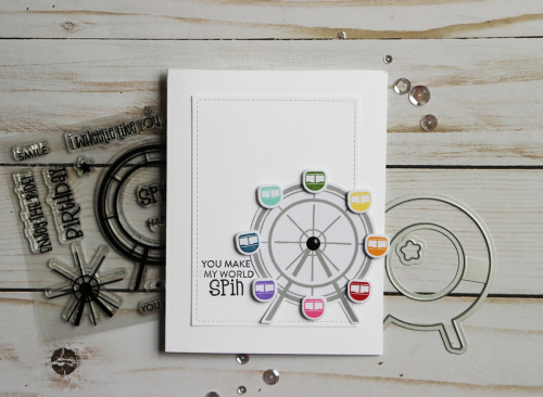 Stamped card using Jillibean Soup's spin wheel stamp and die set.  How to stamp on a card.  Jillibean Soup cardmaking.  #jillibeansoup #cardmaking #stamp #spinwheel #stampanddieset