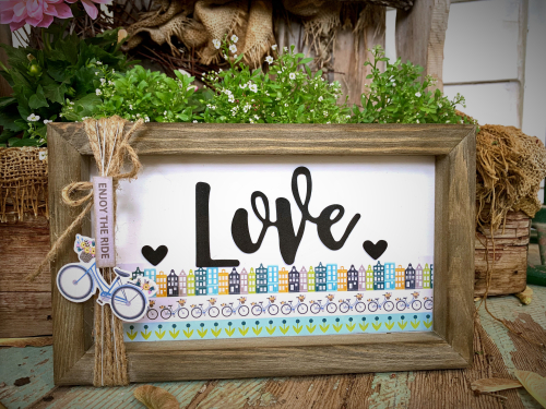 Home decor mix the media project using Jillibean Soup's 6 x 10 Rustic White Frame and the Spoonful of Soul collection including patterned paper, pea pod parts, and foam stickers.  Jillibean Soup Mix the Media.  #jillibeansoup #homedecor #mixthemedia #projects #rusticwhiteframe #spoonfulofsoul