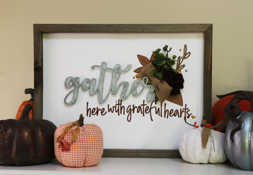 Mix the media home decor project using Jillibean Soup's 12x16 rustic white frame, galvanized word gather, felt flowers, Spoonful of Soul epoxy stickers, and cut files.  Fall home decor projects diy.  Jillibean Soup Mix the Media.  #jillibeansoup #homedecor #projects #mixthemedia #fall #rusticwhiteframe #galvanizedword #feltflowers #spoonfulofsoul #cutfiles
