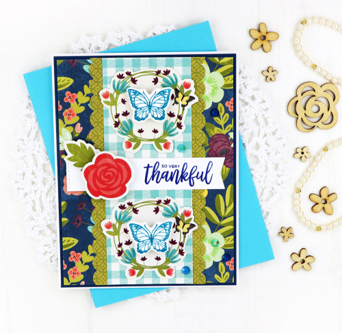 Stamped card using Jilllibean Soup's Jewel Cool Mix sequins, Birthday shaker fillers and the Garden Harvest collection including pea pod parts and clear stamps.  Choosing color for a stamped card.  Jillibean Soup cardmaking.  #jillibeansoup #cardmaking #cards #stamped #gardenharvest #color