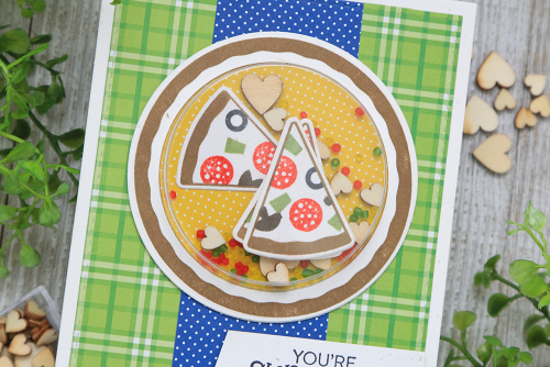 Shape shaker cards using Jillibean Soup's All About Dots paper pad, All About Plaid paper pad, shaker fillers, ice cream stamp and die set, and pizza stamp and die set.  Shaker cards and stamps.  Jillibean Soup cardmaking.  #jillibeansoup #cardmaking #cards #allaboutdotspaperpad #allaboutplaidpaperpad #icecream #pizza #stampanddieset