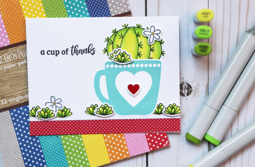 Stamped card using Jillibean Soup's All About Dots paper pad and stamp and die sets including Succulents and Hug in a Mug.  Coloring stamped images on a card.  Jillibean Soup cardmaking.  #jillibeansoup #cardmaking #cards #stamp #stampanddieset #succulents #huginamug #coloring