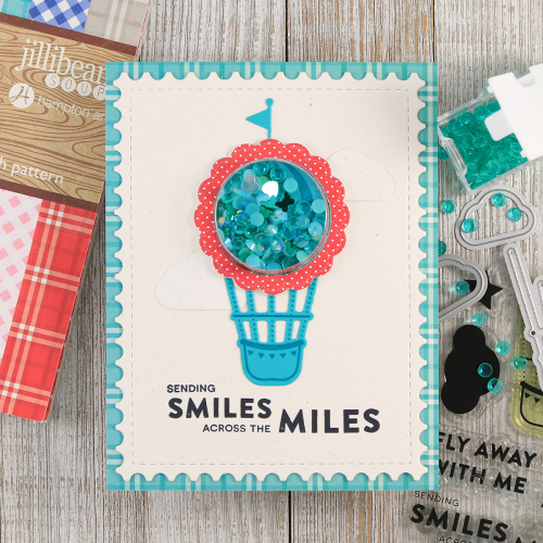 Shape shaker card using Jillibean Soup's large circle shaker card and insert, fly away stamp, circle stamp and die set, and shaker fillers.  How to make a shaker card.  Jillibean Soup cardmaking.  #jillibeansoup #cardmaking #shapeshaker #stamping #flyaway #smallcircle