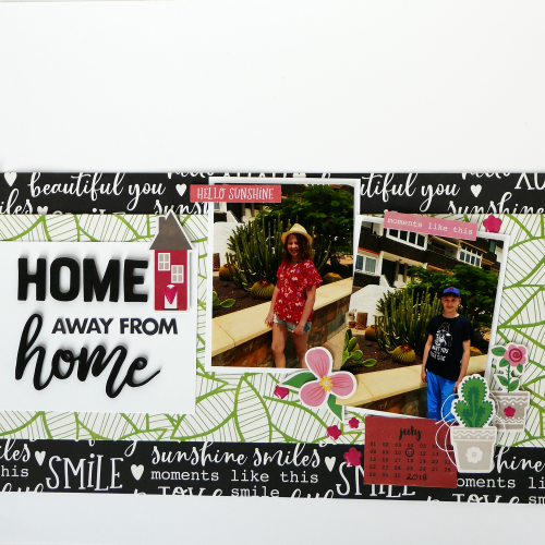 Double scrapbook layout using Jillibean Soup's Garden Harvest foam stickers and You Make Miso Happy collection including patterned paper, coordinating label stickers, pea pod parts, and epoxy stickers.  Double page layout design.  Jillibean Soup scrapbooker  #jillibeansoup #scrapbooker #doublepage #youmakemisohappy