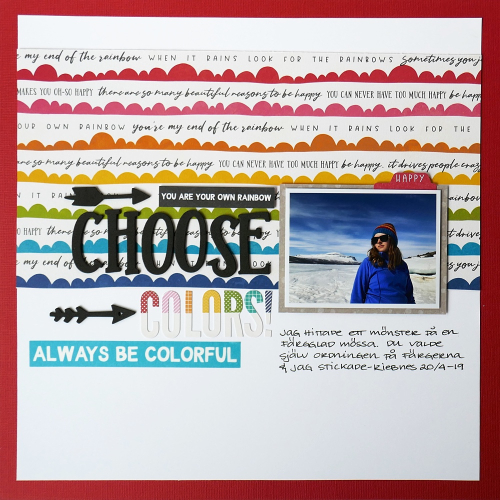 Scrapbook layout using Jillibean Soup's Alphabeans and the Rainbow Roux collection including patterned papers, coordinating label stickers, foam stickers, and washi sheets.  Rainbow colors on a scrapbook layout.  Jillibean Soup scrapbooker.  #jillibeansoup #scrapbooker #layout #rainbowroux #alphabeans