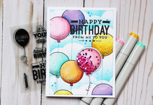Shape Shaker card using Jillibean Soup's Balloon shaker insert, Balloon Party stamp and die set, Birthday stamp and shaker fillers.  How to make a shaker card.  Jillibean Soup cardmaking.  #jillibeansoup #cardmaking #cards #shakercard #balloonparty #stampanddieset #balloon #birthday