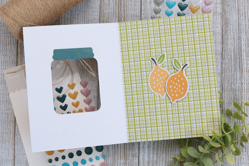 Card using Jillibean Soup Jar Die Set and the Spoonful of Soul collection including patterned paper, epoxy stickers, and pea pod parts.  Creative window cards.  Jillibean Soup cardmaking.  #jillibeansoup #cardmaking #cards #jar #stampanddieset #spoonfulofsoul #window
