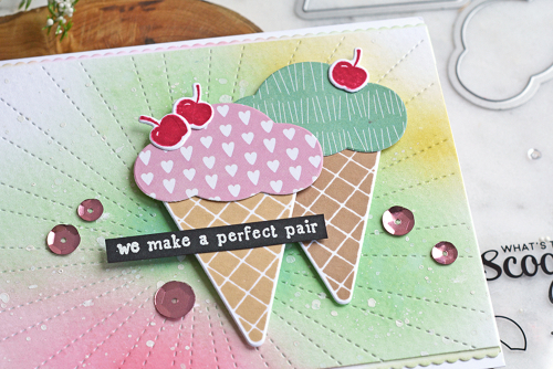 Stamped card using Jillibean Soup's Ice Cream stamp and die set, You Make Miso Happy patterned paper, Spoonful of Soul patterned paper, and sequins.  How to stamp on a card.  Jillibean Soup cardmaking.  #jillibeansoup #cardmaking #cards #stamp #icecream #stampanddieset #youmakemisohappy #spoonfulofsoul