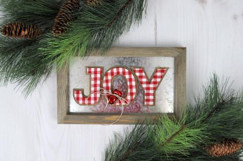 Plaid Joy Galvanized Christmas Sign by Jill for Jillibean Sou. #jillibeansoup #christmas #christmasdecor #plaidchristmas