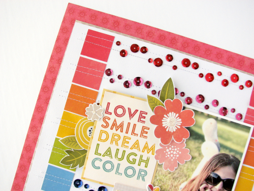 Scrapbook layout using Jillibean Soup's Shades of Color Soup patterned paper and puffy stickers, Garden Harvest patterned paper, and adhesive sequins.  How to use sequins on a scrapbook layout  Jillibean Soup scrapbooker.  #jillibeansoup #scrapbooker #layout #adhesivesequins #shadesofcolorsoup #gardenharvest
