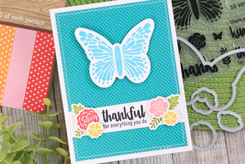 Stamped card using Jillibean Soup's All About Dots paper pad, Thankful Stamp and Die set.  How to stamp on a card.  Jillibean Soup cardmaking.  #jillibeansoup #cardmaking #allboutdotspaperpad #thankful #stampanddieset