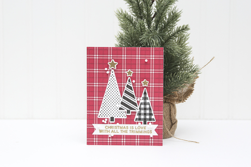 Holiday card created using Jillibean Soup's About Plaid paper pad, Merry & Bright stamp set, and snow mix shaker filler.  Holiday shaker card set.  Jillibean Soup cardmaking.  #jillibeansoup #cards #cardmaking #allboutplaidpaperpad #stamp #holidayshakercardset