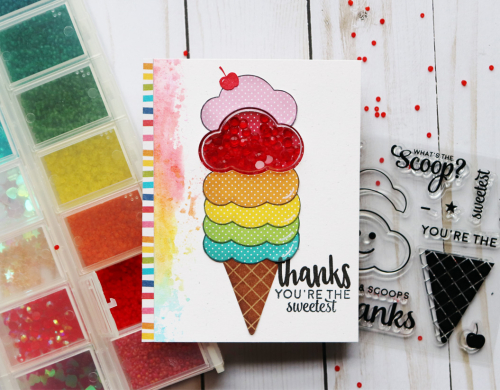 Shape shaker card using Jillibean Soup's All About Dots paper pad, Rainbow Roux patterned paper, ice cream and thankful stamp and die set, shaker cloud card and insert, and shaker fillers.  How to make a shaker card.  Jillibean Soup cardmaking.  #jillibeansoup #cardmaking #shaker #allaboutdotspaperpad #icecream #thankful #stampanddieset #cloud #shakerfillers