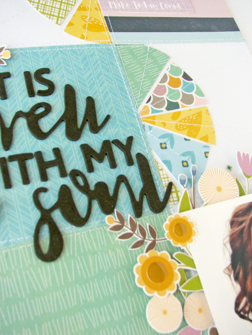 Scrapbook layout using Jillibean Soups Spoonful of Soul collection including patterned paper, pea pod parts, foam stickers, coordinating stickers and epoxy stickers.  How to create a scrapbook layout based off a sketch.  Jillibean Soup scrapbooker.  #jillibeansoup #scrapbooker #scrapbooklayout #spoonfulofsoul #sketch