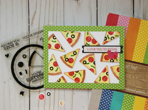 Stamped card using Jillibean Soup's All About Dots paper pad, Rainbow Roux epoxy stickers and coordinating label stickers, and pizza stamp and die set.  How to stamp on a card.  Jillibean Soup cardmaking.  #jillibeansoup #cardmaking #stamping #allaboutdotspaperpad #rainbowroux #pizza #stampanddieset