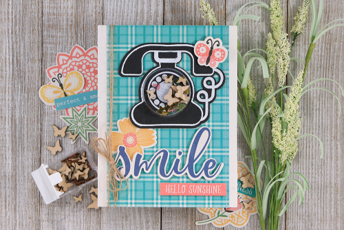 Shape shaker card using Jillibean Soup's circle shaker card and insert, the Call Me stamp and die set, and shaker fillers.  How to create a shape shaker card.  #jillibeansoup #shapeshaker #circle #callme #stampanddieset #shakerfillers