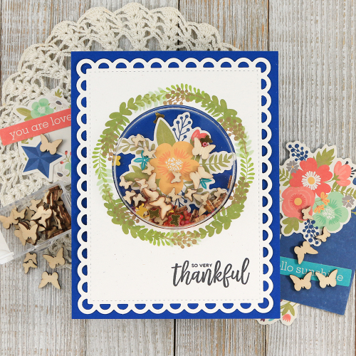 Shape shaker card created with Jillibean Soup's large circle shaker card and insert, Garden Harvest collection, stamps, and shaker fillers.  How to create a shaker card.  #jillibeansoup #cardmaking #shapeshaker #gardenharvest #stamping