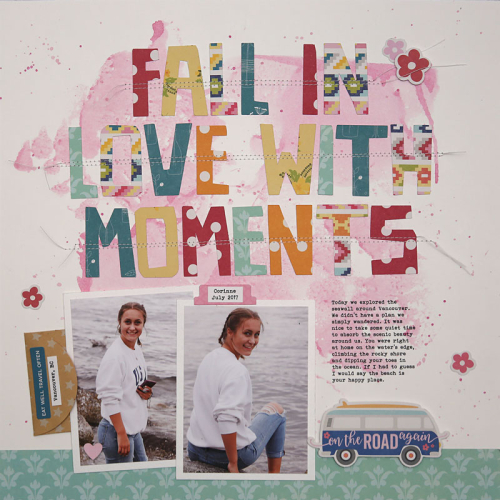 Scrapbook layout using Jillibean Soup's Bohemian Brew.  Jillibean Soup scrapbooker.  #jillibeansoup #scrapbooker #layout #bohemianbrew