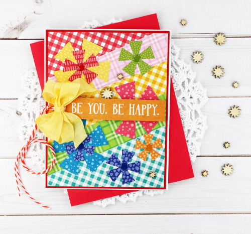 Card created using Jillibean Soup's All About Plaid paper pad and the Rainbow Roux collection including patterned paper, pea pod parts, and epoxy stickers.  Jillibean Soup cardmaking.  #jillibeansoup #cardmaking #allaboutplaidpaperpad #rainbowroux