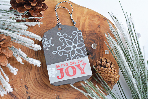 Tag using Jillibean Soup's Bring Joy stamp and die set.  Christmas Gift Tag Set.  Jillibean Soup tags.  #jillibeansoup #tags #christmas #stampanddieset