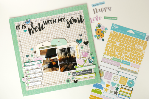 Scrapbook layout using Jillibean Soup's Spoonful of Soul collection including patterned paper, foam stickers, clear stamps, pea pod parts, epoxy stickers, and coordinating label stickers.  A gratitude scrapbook layout.  Jillibean Soup scrapbooker.  #jillibeansoup #scrapbooker #scrapbooklayout #spoonfulofsoul #gratitude