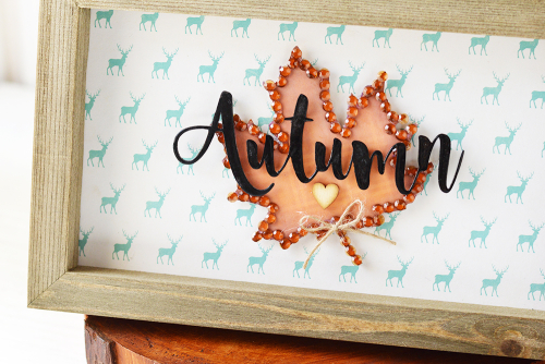 Home decor Mix the Media project using Jillibean Soup's Garden Harvest patterned paper, All About Plaid paper pad, shaker fillers, and 6 x 10 rustic frame.  Autumn/fall mix the media project.  Jillibean Soup Mix the Media.  #jillibeansoup #homedecor #mixthemedia #project #gardenharvest #allaboutplaidpaperpad #rusticwhiteframe #fall