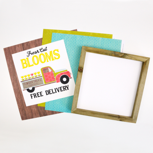 Home decor mix the media project using Jilllibean Soup's rustic white frame, All About Dots paper pad, Fresh Cut Blooms cut file, and patterned papers.  How to make a home decor project with mix the media and Jillibean Soup Silhouette shapes.  Jillibean Soup mix the media.  #jillibeansoup #mixthemedia #homedecor #cutfile #freshcutblooms #allaboutdotspaperpad #rusticwhiteframe