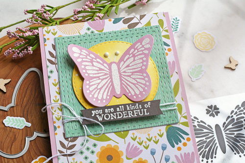 Stamped card using Jillibean Soup's Thankful Butterfly stamp and die set, Spoonful of Soul patterned paper, and Spoonful of Soul clear stamps.  How to stamp on a card.  Jillibean Soup cardmaking.  #jillibeansoup #cardmaking #stamping #spoonfulofsoul #thankfulbutterfly #stampanddieset