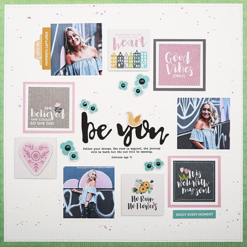 Scrapbook layout using Jillibean Soup's Spoonful of Soul collection including patterned paper, foam stickers, pea pod parts, and epoxy stickers.  Jillibean Soup scrapbooker.  #jillibeansoup #scrapbooker #scrapbooklayout #spoonfulofsoul