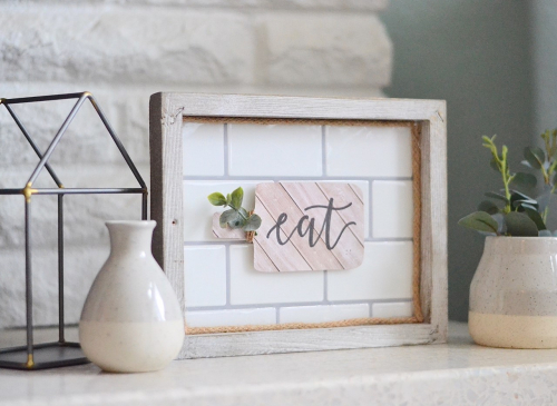 Wooden farmhouse kitchen sign from Jillibean Soup. #jillibeansoup #mixthemedia #kitchendecor #woodensign