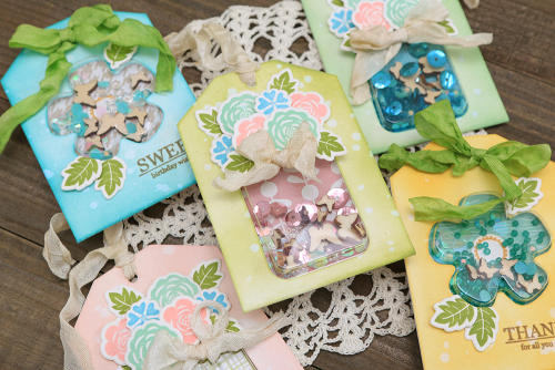 Shape shaker tag set using Jillibean Soup's Flower tag and insert, Jar tag and insert, Flower Bloom stamp and die set, Thankful stamp and die set, and fillers.  How to create layered shaker tags.  Jillibean Soup cardmaking.  #jillibeansoup #cardmaking #tags #shapeshaker #flower #jar #stampanddieset #layered