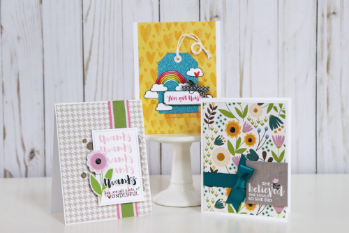 Card using Jillibean Soup's Spoonful of Soul collection and the Rainbow Roux collection.  How to use ribbon on a card.  Jillibean Soup cardmaking.  #jillibeansoup #cards #cardmaking #spoonfulofsoul #rainbowroux #ribbon