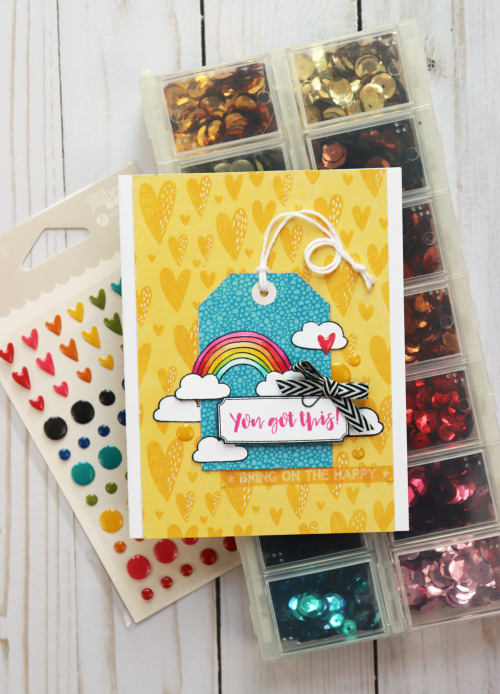 Card using Jillibean Soup's Spoonful of Soul clear stamps and the Rainbow Roux collection including patterned paper, epoxy stickers, washi sheets, and clear stamps.  How to use ribbon on a card.  Jillibean Soup cardmaking.  #jillibeansoup #cards #cardmaking #spoonfulofsoul #rainbowroux #ribbon