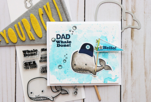 Father's day card using Jillibean Soup's 2 Cool for School and Whale Done stamp and die set.  Father's day card ideas.  Jillibean Soup cardmaking.  #jillibeansoup #cardmaking #2coolforschool #whaledone #stampanddieset