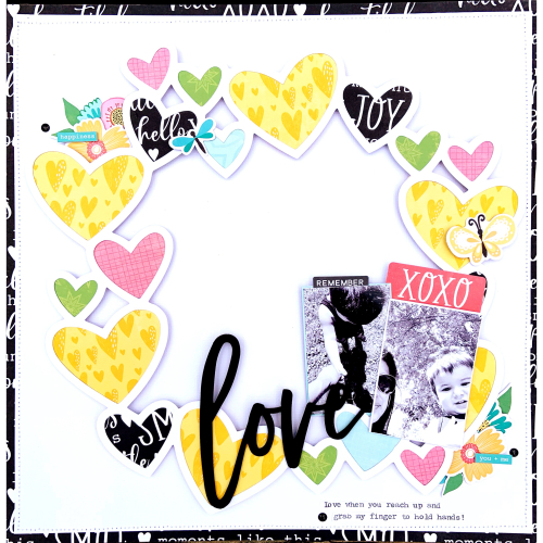Scrapbook layout using Jillibean Soup's Heart Wreath cut file, Rainbow Roux collection, and You Make Miso Happy collection.  Choosing an open design background die cut shape for your layouts.  Jillibean Soup scrapbooker.  #jillibeansoup, #scrapbooker #scrapbooklayout, #heartwreath, #cutfile, #youmakemisohappy, #rainbowroux