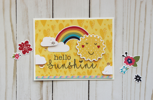 Card using Jilliean Soup's cut file and the Rainbow Roux collection including patterned paper, pea pod parts, and coodinating stickers.  Card set with Silhouette shapes.  Jillibean Soup cardmaking.  #jillibeansoup #cards #cardmaking #rainbowroux #cutfile