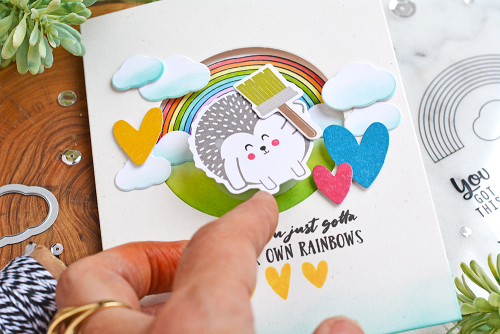 Window card created using Jillibean Soup's Rainbow Roux stamps, Unicorn stamp and die set, Rainbow Roux pea pod parts, and Shades of Color pea pod parts.  How to create a window card.  Jillibean Soup cardmaking.  #jillibeansoup #card #cardmaking #window #rainbowroux #unicorn #stamping #stampanddieset