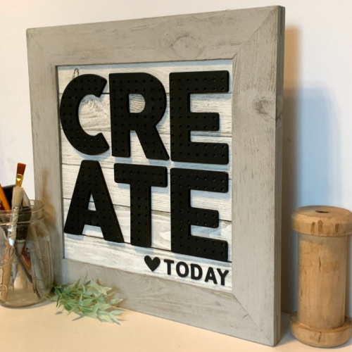 Home decor mix the media project using Jilllibean Soup's shiplap frame, pegboard word, and Spoonful of Soul foam stickers.  Create a pegboard sign.  Jillibean Soup Mix the Media project.  #jillibeansoup #homedecor #mixthemedia #shiplapframe #pegboard #spoonfulofsoul #foamstickers