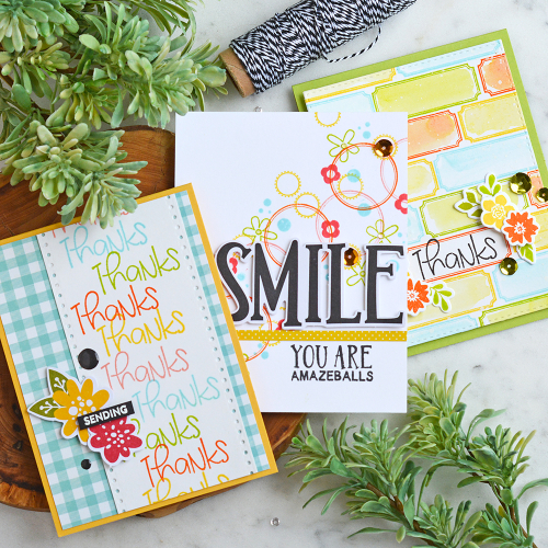 Stamped cards using Jillibean Soup.  How to create a stamped background on cards.  Jillibean Soup cardmaking.  #jillibeansoup #cards #cardmaking #stamp #background #stampanddieset #gardenharvest #rainbowroux #spoonfulofsoul #allaboutdotspaperpad
