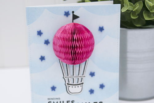 Card using Jillibean Soup's Fly Away shape shaker stamps and the small circle shape shaker die set.  How to stamp on a card.  Jillibean Soup cardmaking.  #jillibeansoup #cardmaking #stamp #flyaway #smallcircle #stampanddieset
