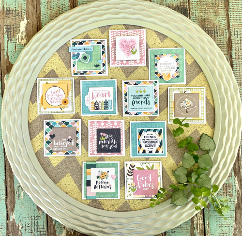 Cards using Jillibean Soup's Spoonful of Soul patterned papers and pea pod parts.  Jillibean Soup cardmaking.  #jillibeansoup #cards #cardmaking #spoonfulofsoul