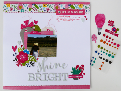 Scrapbook layout using Jillibean Soup's Rainbow Roux and You Make Miso Happy collections, including patterned paper, pea pod parts, epoxy stickers, and foam stickers.  Using your favorite color on a layout.  Jillibean Soup scrapbooker.  #jillibeansoup #scrapbooker #scrapbooklayout #rainbowroux #youmakemisohappy #favoritecolor