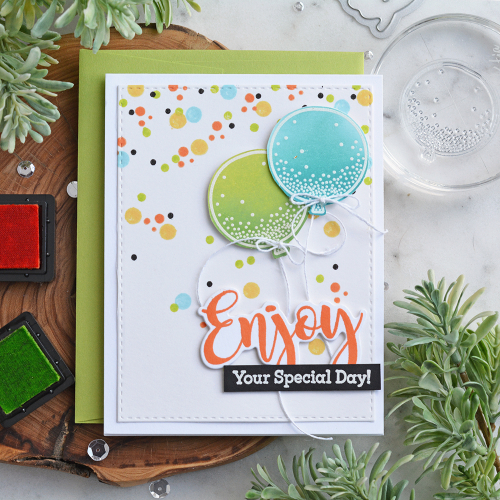 Stamped card using Jillibean Soup's All My Happy and Balloon Party, enjoy sentiments stamp and die set.  Shake it up with shaker cards and stamps.  Jillibean Soup cardmaking.  #jillibeansoup #shakercard #stampanddieset